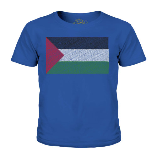 (Royal Blue, 11-12 Years) Candymix - Palestine Scribble Flag - Unisex Kid's T-Shirt