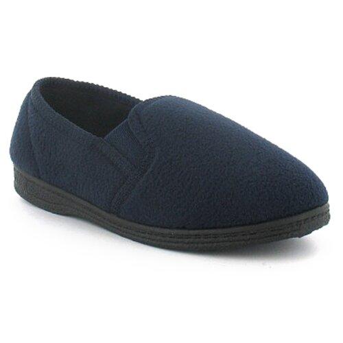 (1 (Adults')) New Boys/Childrens Blue Twin Gusset Polar Fleece Slippers UK Size