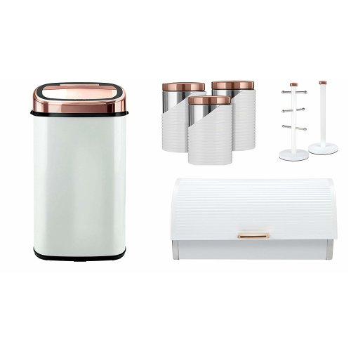 ROSE GOLD & WHITE 58L Square Senor Bin, Linear Bread bin, Set of 3 Canisters and Towel Pole and Mug Tree