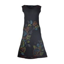 BLACK SUMMER SLEEVELESS DRESS WITH FLORAL PRINT AND EMBROIDERY