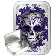 Purple Candy Skull 50ml Silver Hinged Tobacco Tin, Gift Tin