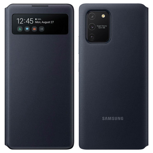 Samsung Galaxy S10 Lite Leather Folio Case Card Holder Original Hard Shell Black