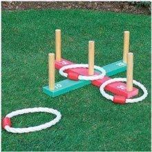 New Quoits Garden Wooden Game - Wooden Pegs & Rope Hoopla Indoor Outoor
