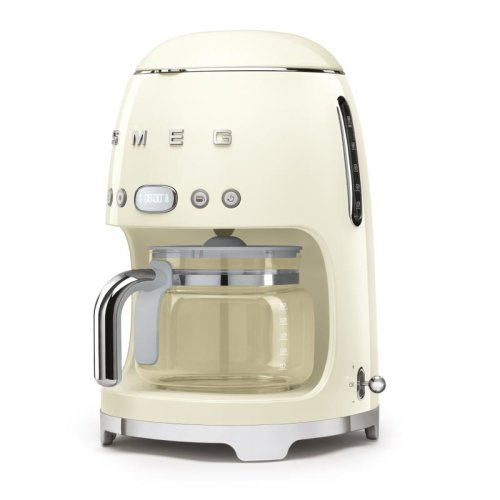 Smeg 1.4L 10 Cup Drip Coffee Machine with Auto Start Mode, Reusable Filter, Digital Display in Cream