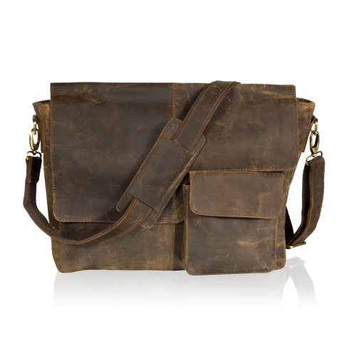 "Woodland Leather Brown 15"" Messenger Bag Front Patch Pocket Full Flap Over"
