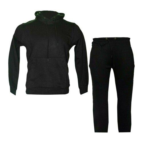 (Black, M) Men's Plain Sports Hoodie Sweatpants Tracksuit Set
