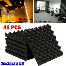 48 Acoustic Wall Panel Tiles Studio Sound Proofing Insulation Foam 30x30cm