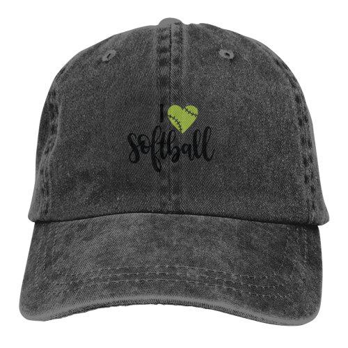 I Love Softball Denim Baseball Caps