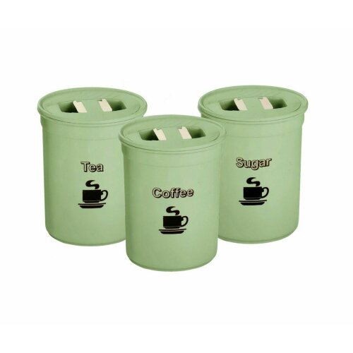 Set Of 3 Tea Coffee Sugar Jars Storage Canisters Kitchen Container