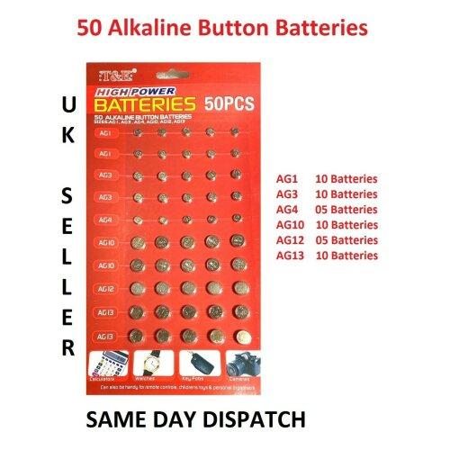 50 Watch Cell BATTERY Batteries 364 AG3 392 AG4 377 AG12 386 AG13 AG1