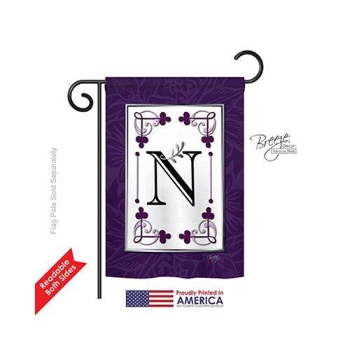 Breeze Decor 80014 Classic N Monogram 2-Sided Impression Garden Flag - 13 x 18.5 in.
