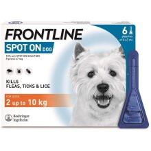 Frontline Spot On Solution for biting lice Dogs, 2-10kg, 6 Pipettes of 0.67ml
