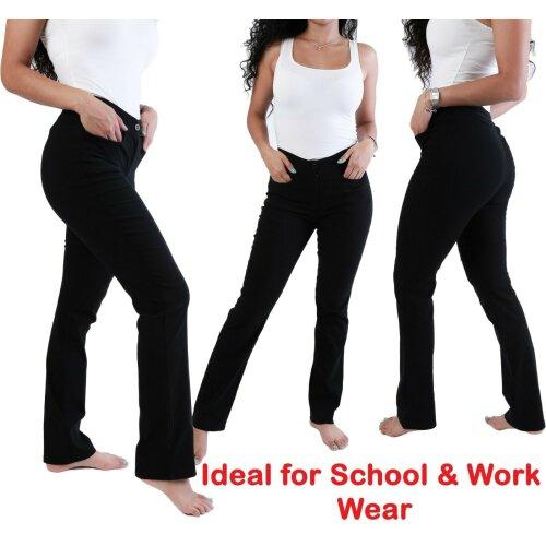 Girls Black School Trousers Straight leg Stretch women office work trouser