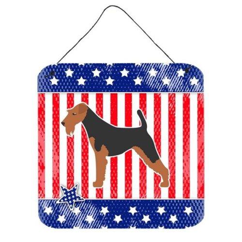 USA Patriotic Airedale Terrier Wall or Door Hanging Prints
