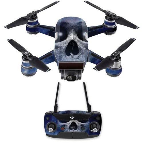 MightySkins DJSPCMB-Haunted Skull Skin Decal for DJI Spark Mini Drone Combo - Haunted Skull