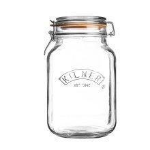 Kilner Clip Top Square Glass Jar, Transparent, 2 Litre