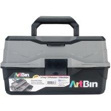 "ArtBin Lift Tray Box W/2 Trays & Quick Access Lid Storage-8""X14""X7.5"", Black & Gray"