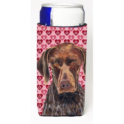German Shorthaired Pointer Hearts Love And Valentines Day Michelob Ultra bottle sleeves For Slim Cans - 12 oz.