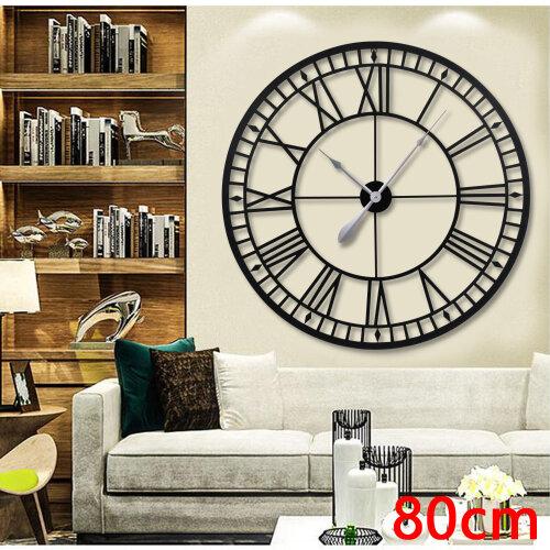 Large Metal Home Wall Clock Big Roman Numberals