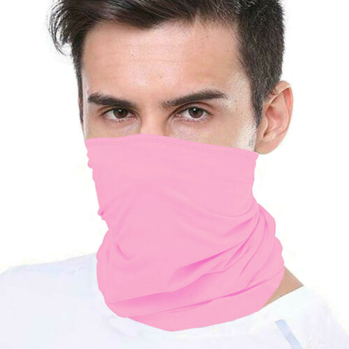 (Pink) Bandana Face Covering Mask Biker Tube Snood Scarf Neck Cover