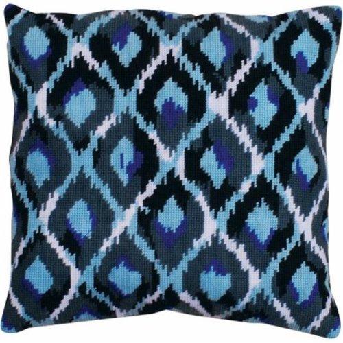 Blue Ikat Needlepoint Kit-12''X12'' Stitched In Yarn