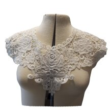 ivory floral lace collar applique sew on round neckline cotton motif for dress sewing