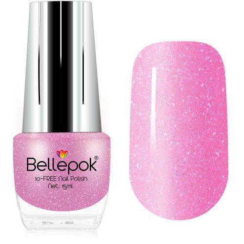 Bellepok 10-FREE Nail Polish - Pink Panther | Non-Toxic Pink Glitter Nail Varnish
