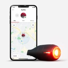 Vodafone Curve bike light & GPS tracker, an intelligent brake light with 3 modes & up to 40 lumens, GPS tracking, Impact detection, security