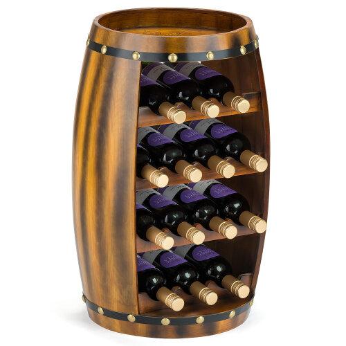 Wooden Barrel Wine Rack Wood Bottle Holder Table Top 8 / 14 Bottles Christow