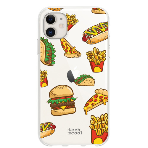 Phone case Iphone 11 TPU Silicone Transparent background pattern junk food