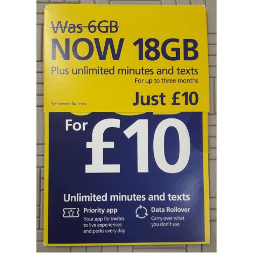 O2 Pay As You Go sim £10/month no credit included
