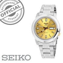 Seiko 5 Automatic Gold Dial Silver Stainless Steel Mens Watch SNKK13K1