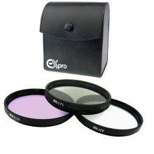 Ex-Pro 62mm Professional Multi Coated Glass Lens Filter Kit, UV, CPL Polarising