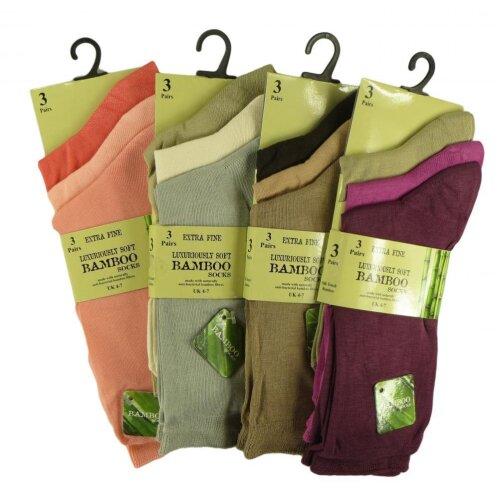 Ladies 3pk Bamboo Extra Fine Anti Bacterial Socks