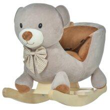 HOMCOM Kids Rocking Bear Plush Ride On Seat w/ Sound Button Wood Base Seat Belt