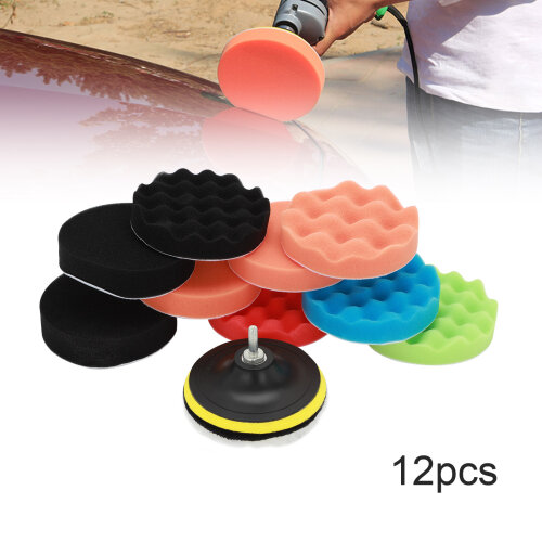 "12pcs 5"" 125mm Car Waxing Polishing Pad Buffing Sponge Pads Kit"