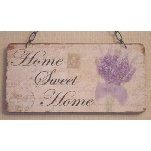 Wall Plaque Home Sweet Home Lavender Wooden Sign Lilac