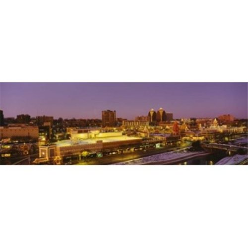 High angle view of buildings lit up at dusk  Kansas City  Missouri  USA Poster Print by  - 36 x 12