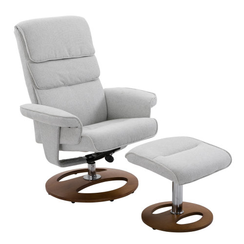 HOMCOM Recliner Chair Ottoman Set 360 Swivel Sofa Wood Base Grey
