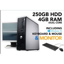 Dell Optiplex Dual Core 4GB RAM 250GB HDD Windows10 PC Computer Bundle - Refurbished