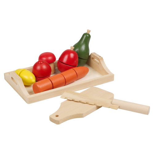(Fruit & Veg Chopping Board) 8-9 PCS Kids Wooden Food Fruit & Veg Bread Set Toy