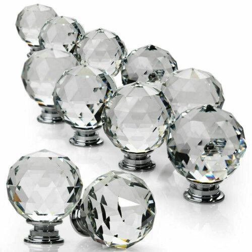 Clear Crystal Diamond Door Knobs Cupboard Drawer Furniture Handle Cabinet