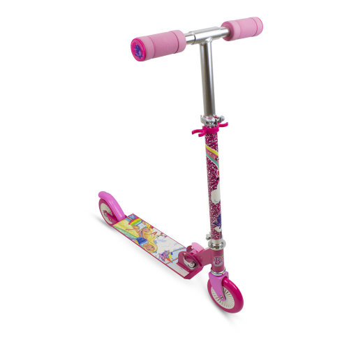 BARBIE Dreamtopia Kid's Two Wheel Inline Foldable Scooter with Adjustable Handlebar and Front Plate, Multi-colour (OBBD112)