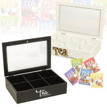 Wooden Tea Box | With 6 Compartments Glass