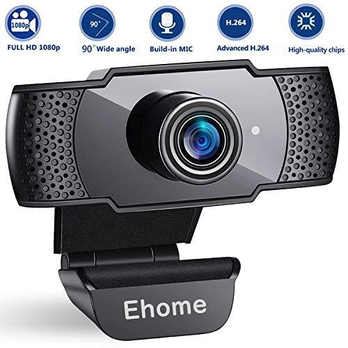 Ehome Webcam with Microphone, 1080P PC Laptop Desktop USB 2.0 Web Camera for Video Calling, Studying, Online Class, Conference, Recording, Gaming wi