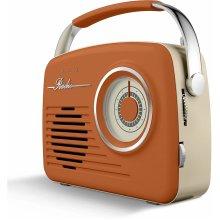 Akai A60014VBO Vintage Radio  AM/FM Radio Battery/Mains Powered,Orange