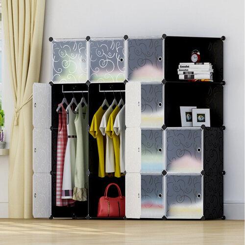 16-Cube DIY Plastic Wardrobe Closet Cabinet Organizer Storage