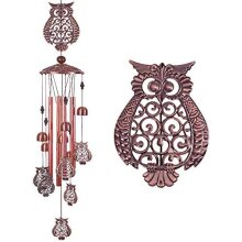 Owl Memorial Wind Chimes for Outside Garden Decor with Tubes Bells,Copper