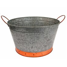 Galvanised Metal Round Flower Plant Planter Flower Herb Pot with Copper Detail