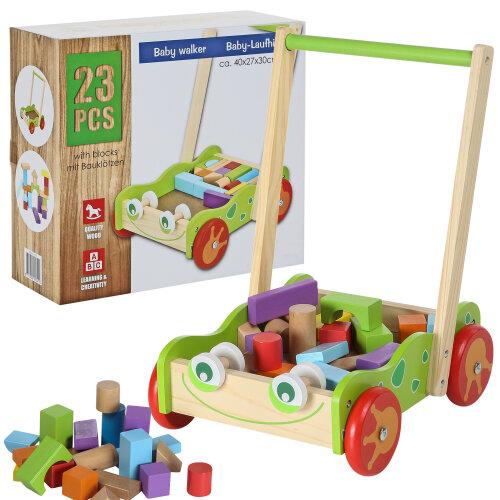 Baby Wooden Activity Toddler Push Along Colourful Blocks Walker